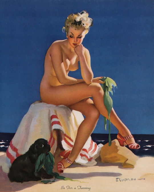 In For a Tanning by Gil Elvgren (Louis F. Dow, 1940s)